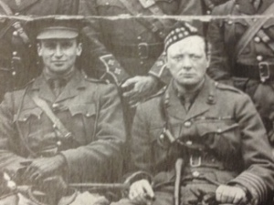 Spring 1916: Officers of the 6th Battalion, Royal Scots Fusiliers. Winston Churchill and commanding officer, Captain Sinclair as Second in Command