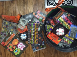 Getting the kids class Trick or Treat bags ready!