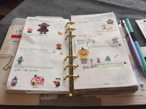October Pages, complete with Halloween stcikers!